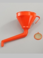 Funnel with removable filter and rigid cranked spout.